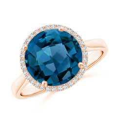 Round London Blue Topaz Cocktail Ring with Diamond Halo