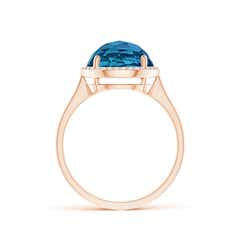 Toggle Round London Blue Topaz Cocktail Ring with Diamond Halo