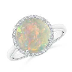 Round Opal Cocktail Ring with Diamond Halo