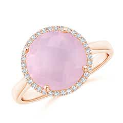 Round Rose Quartz Cocktail Ring with Diamond Halo