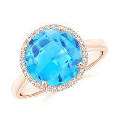 Round Swiss Blue Topaz Cocktail Ring with Diamond Halo