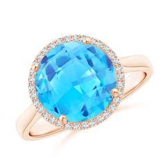 Round Swiss Blue Topaz Cocktail Ring with Diamond Halo