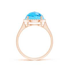 Toggle Round Swiss Blue Topaz Cocktail Ring with Diamond Halo