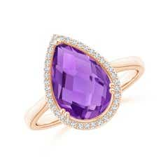 Pear-Shaped Amethyst Cocktail Ring with Diamond Halo