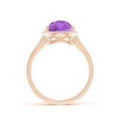 Toggle Pear-Shaped Amethyst Cocktail Ring with Diamond Halo