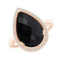 Pear-Shaped Black Onyx Cocktail Ring with Diamond Halo