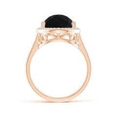 Toggle Pear-Shaped Black Onyx Cocktail Ring with Diamond Halo