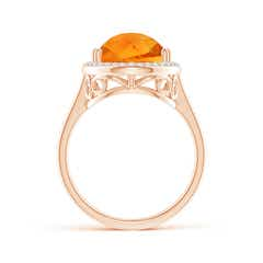 Toggle Pear-Shaped Citrine Cocktail Ring with Diamond Halo