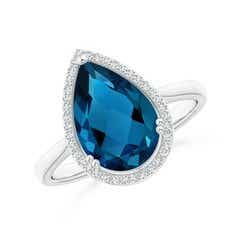 Pear-Shaped London Blue Topaz Cocktail Ring with Diamond Halo