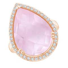 Pear-Shaped Rose Quartz Cocktail Ring with Diamond Halo