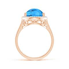 Toggle Pear-Shaped Swiss Blue Topaz Cocktail Ring with Diamond Halo