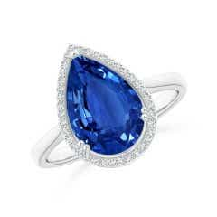 GIA Certified Pear Sri Lankan Sapphire Cocktail Ring