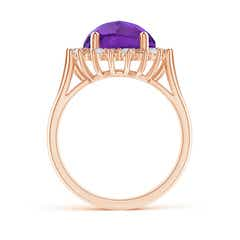 Toggle Round Amethyst Triple Split Shank Ring with Alternating Halo