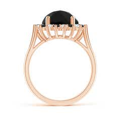 Toggle Black Onyx Triple Split Shank Ring with Alternating Halo