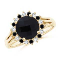 Black Onyx Triple Split Shank Ring with Alternating Halo