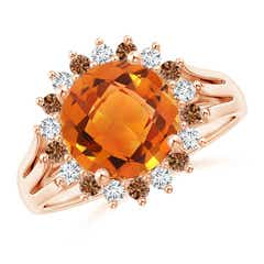 Round Citrine Triple Split Shank Ring with Alternating Halo