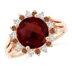 Round Garnet Triple Split Shank Ring with Alternating Halo