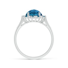 Toggle London Blue Topaz Triple Shank Ring with Alternating Halo