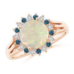 Round Opal Triple Split Shank Ring with Alternating Halo