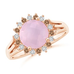 Rose Quartz Triple Split Shank Ring with Alternating Halo
