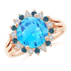 Swiss Blue Topaz Triple Shank Ring with Alternating Halo