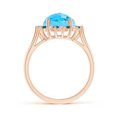 Toggle Swiss Blue Topaz Triple Shank Ring with Alternating Halo