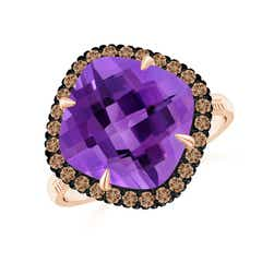 Claw-Set Cushion Amethyst Halo Ring with Filigree