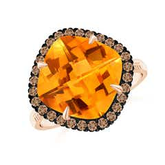 Claw-Set Cushion Citrine Halo Ring with Filigree