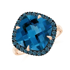 Claw-Set Cushion London Blue Topaz Halo Ring with Filigree
