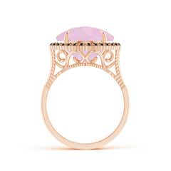 Toggle Claw-Set Cushion Rose Quartz Halo Ring with Filigree