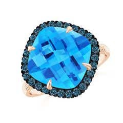 Claw-Set Cushion Swiss Blue Topaz Halo Ring with Filigree