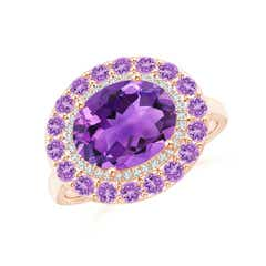Sideways Oval Amethyst Double Halo Cocktail Ring