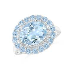 Sideways Oval Aquamarine Double Halo Cocktail Ring