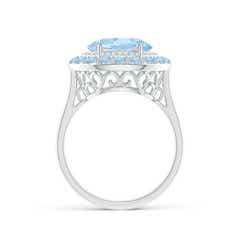 Toggle Sideways Oval Aquamarine Double Halo Cocktail Ring