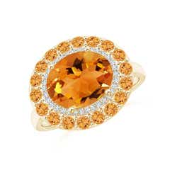 Sideways Oval Citrine Double Halo Cocktail Ring