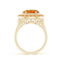 Toggle Sideways Oval Citrine Double Halo Cocktail Ring