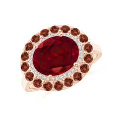 Sideways Oval Garnet Double Halo Cocktail Ring
