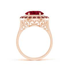 Toggle Sideways Oval Garnet Double Halo Cocktail Ring