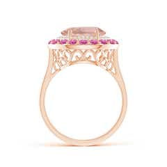 Toggle Sideways Oval Morganite Double Halo Cocktail Ring