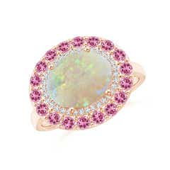 Sideways Oval Opal Double Halo Cocktail Ring