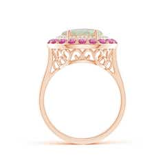 Toggle Sideways Oval Opal Double Halo Cocktail Ring