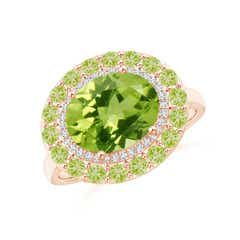 Sideways Oval Peridot Double Halo Cocktail Ring