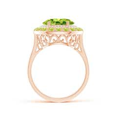 Toggle Sideways Oval Peridot Double Halo Cocktail Ring