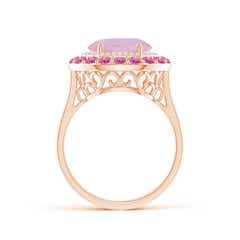Toggle Sideways Oval Rose Quartz Double Halo Cocktail Ring