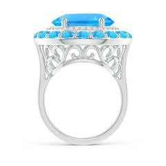 Toggle Sideways Oval Swiss Blue Topaz Double Halo Cocktail Ring