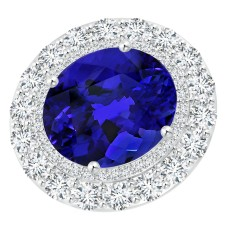 Sideways GIA Certified Oval Tanzanite Double Halo Ring
