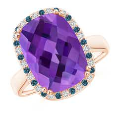 Cushion Amethyst Cocktail Ring with Alternating Halo