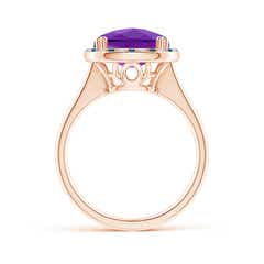 Toggle Cushion Amethyst Cocktail Ring with Alternating Halo