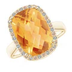 Cushion Citrine Cocktail Ring with Alternating Halo