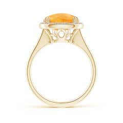 Toggle Cushion Citrine Cocktail Ring with Alternating Halo